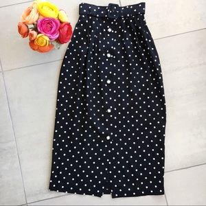 Vintage Polka Dot Midi Skirt Belt Black White